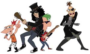 Slash, Phineas y Ferb